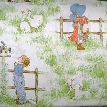 Vintage Holly Hobbie and Robby TWIN Size Flat Sheet Kids Bedding Springmaid Muslin 1977 Girl Bed Decor Used Clean