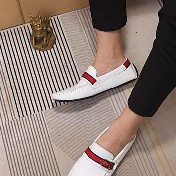 LV Louis Vuitton Men's 2019 New Vintage Leather Casual Loafer Shoes white Best Quality