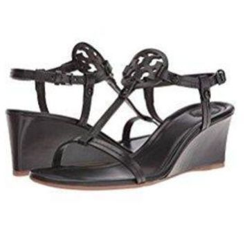 Tory Burch Miller 60mm Black Leather Wedge Sandal (8.5)