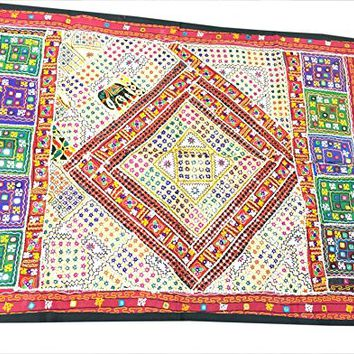 Vintage Embroidered Beige Wall Hanging Patchwork Sari Tapestry(60x40inch)