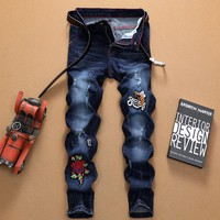 Bee rose embroidery personality blue men's jeans men's straight line slim fit men's jeans