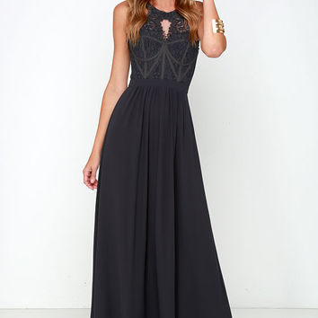 Bariano Optimum Opulence Dark Blue Grey Lace Maxi Dress