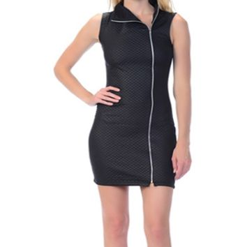 Club Jazzy Women's Black Quilt Leatherette Dress With Zipper Plus Sizes
