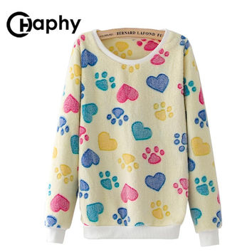 Women Hoodies Dog Paws Print Warm Winter Flannel Hoody Casual Harajuku Pullover Hoodies Tracksuits Animal Print Christmas Hoody