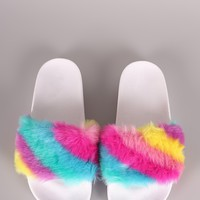 Qupid Fuzzy Faux Fur Slide Sandal