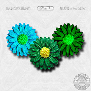 Christmas Green Glow in the dark Daisy Pendant EyeGloArts Handmade neon Glow Jewelry Made in the USA