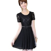 Womens Lace Chiffon Short Sleeve Slim Dress