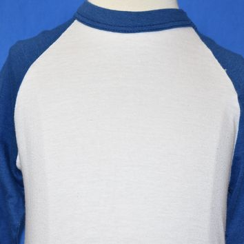 80s Blank White and Blue Raglan t-shirt Youth Small