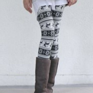 White Pattern Bodycon Leggings