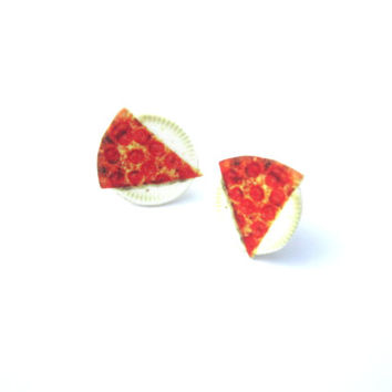 slice of pizza earrings, pizza slice, i love pizza, grunge jewelry, hipsters, food charms