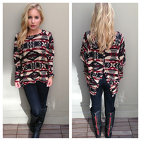 Burgundy & Black Button Back Aztec Sweater Top