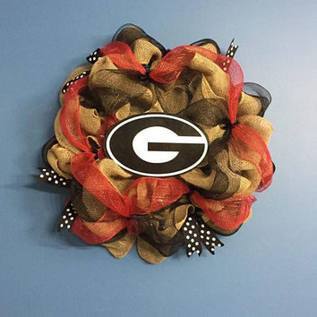 College Wreath, Georgia Bulldog Wreath, Sports Wreath, Front Door Decoration, Burlap Wreath