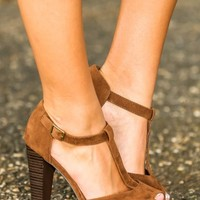 Line In The Sand Suede Heels-Chocolate