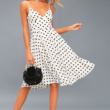 Favorite Spot White Polka Dot Midi Dress