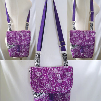 Purple Crossbody Bag, Small Messenger Bag, Hipster, Handmade Purse, Cloth Purse, Purple, Black, White, Floral, Fabric Bag, Shoulder Bag