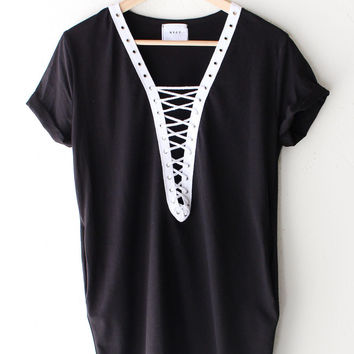Lace Up Deep V-neck Tshirt Dress