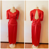 Vintage 40s Style Drop Waist Backless Gown Jessica Rabbit Sexy Red Maxi XSmall