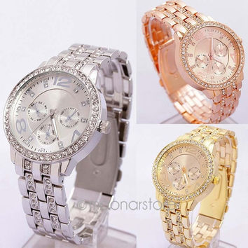 2014 HOT SALE New Fashion Geneva Crystal Women Men Unisex Stainless Steel Quartz Wrist Watch = 1956952644