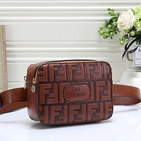 FENDI Women Fashion Leather Crossbody Chest Bag Waist Bag