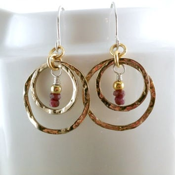 Gold Circle Earrings Ruby Earrings Gemstone Beads Mixed Metal Sterling Silver Gold Tone Hoops Hammered Hoops Gold and Red Earrings Boho