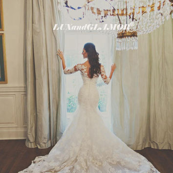 Wedding Dress,French Lace Mermaid Wedding Dress,Pearls Beaded Satin Sash Wedding Dress, Chapel Train Mermaid Wedding Dress