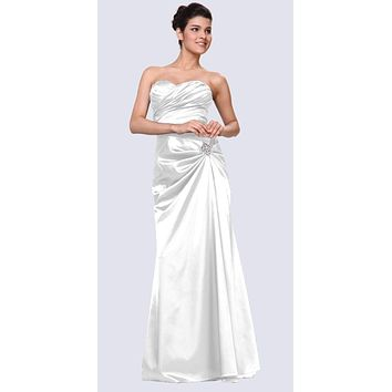 White Satin Prom Dress Pleated Bodice Strapless Sweetheart Neck