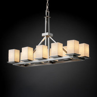 Justice Design Group POR865015WAVENC Limoges Montana 10-Light Brushed Nickel Rectangular Ring Chandelier
