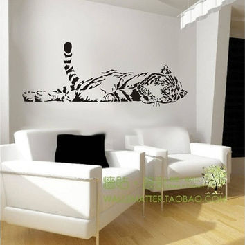 Animal tiger wall sticker decoration fashion cute bedroom living waterproof sofa glass cabnet home decal decor family 100*40cm@LYZ