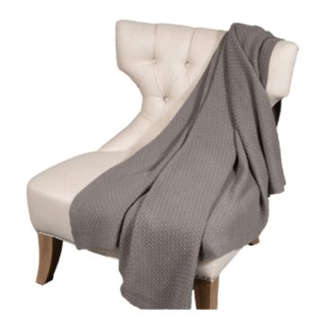 100% Cashmere Basketweave Knit Throw by Alashan
