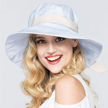 Female Korean Fashion Striped Bucket Hat Womens Foldable Blue White Sunhat Europe and American Large Brimmed Hat for Gifts