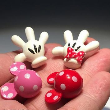 120pcs 2cm subminiature mickey mouse head and hand collection figures toys mickey minnie DIY  materials toys