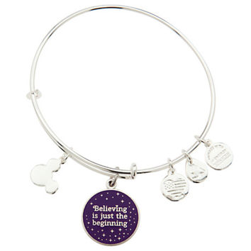 Disney Parks Tinker Bell Believing Charm Bangle Alex & Ani Silver New With Tags
