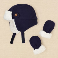 newborn - boys - trapper hat and mitten set | Children's Clothing | Kids Clothes | The Children's Place
