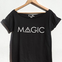 MAGIC off the shoulder t shirt Harry potter top Deathly hallows Hogwarts Ron Weasley Magic wand tee HP gift for women