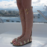 "Gold Gladiator sandals, Strappy leather sandals ""Artemis"" ARTS06"