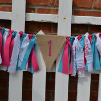 Ready to Ship High Chair fabric banner 32 inches long flowers mod flower ribbon aqua hot pink 1st birthday banner Ready to Ship