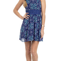 Moody Blues Medallion Print Crochet Inset Dress