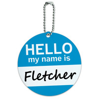 Fletcher Hello My Name Is Round ID Card Luggage Tag