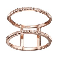 White Topaz 18k Rose Gold Over Silver Double Row Ring