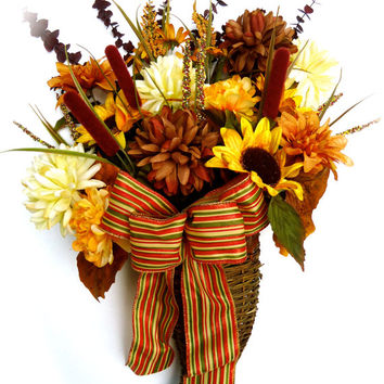 Natural Hanging Twig Basket, , Cornucopia, Silk floral, Autumn,Home Decor, Basket, Natural Twig, Door Decor, Fall