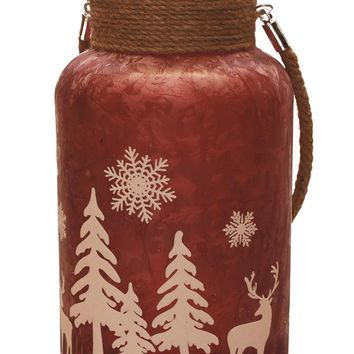 "10"" Red Iced White Winter Scene Decorative Christmas Pillar Candle Holder Lantern with Handle"