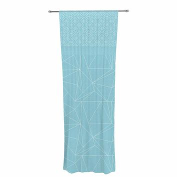 "Pia Schneider ""Blue Geometric Pattern"" Blue White Vector Decorative Sheer Curtain"