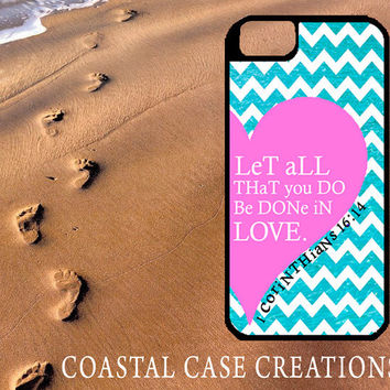 Pink Heart Chevron 1 Corinthians Bible Verse Quote Apple iPhone 4 4G 4S 5G Hard Plastic Cell Phone Case Cover Original Trendy Stylish Design