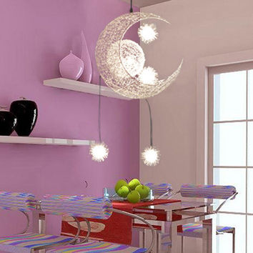 Modern Personalized Moon Star Chandelier Children Bedroom Lustres Hanging Ceiling Lamp Home Decorative Fixture Lighting