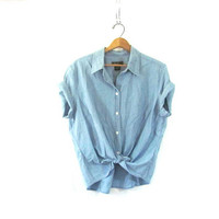 vintage chambray jean shirt. short sleeved denim look shirt. Eddie Bauer button down top / size XXL