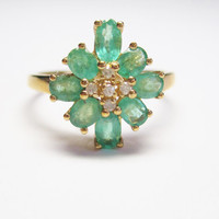 Emerald and Diamond Ring 10K Yellow Gold Size 8