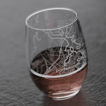 Portsmouth NH Map Stemless Wine Glass