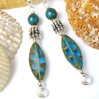 Aqua Blue Earrings Rustic Czech Glass Earthy Spirals Handmade Beaded