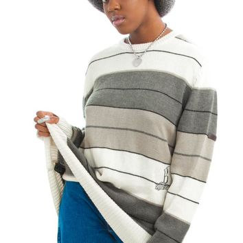 Vintage Y2K Billabong Grayscale Stripe Sweater - One Size Fits Many