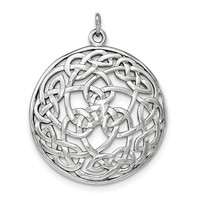 Sterling Silver Rhodium-plated Polished Celtic Pendant QC8670